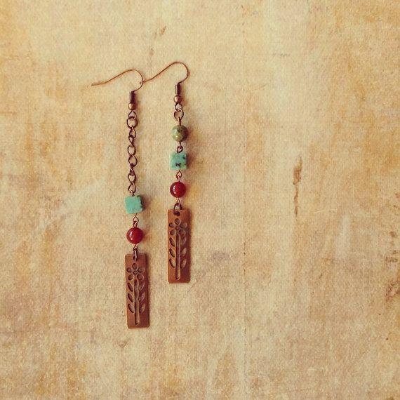 Handmade dangle asymmetrical copper earrings