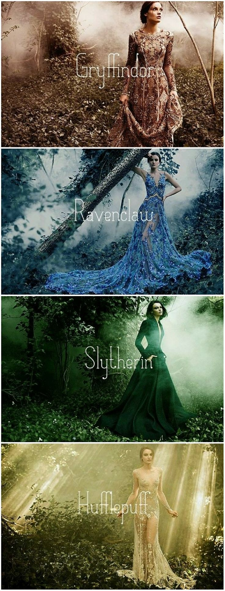 Mode Interpretation der Hogwarts Häuser - wie würde sich eine Prinzessin dieses Hauses kleiden? Sie sind alle wunderschön! Wer wärst du? Hogwarts Fashion Outfits / Slytherin Dress / Gryffindor Dress / Hufflepuff Dress / Ravenclaw Dress #hogwartsfashion #harrypotterfashion | Stylefeed