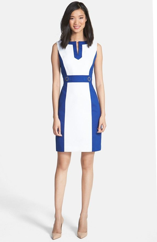 Colorblock Cotton Sheath Dress (Petite)