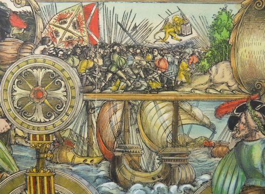 Albrecht Dürer workshop: Venetian war No. 89, D.4, (A.91), detail, woodcut, Triumphal procession of Emperor Maximilian I., ca. 1516 - 1519, currently attributed to Hans Springinklee (?), 1516-18, coloured (17.cent.) Copyright: P.D.