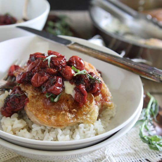 Goat Cheese Fried Chicken with Cherry Tarragon Sauce.