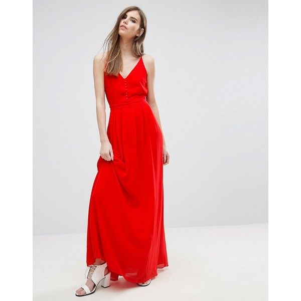 Y.A.S Flawless Strappy Maxi Dress ($67) ❤ liked on Polyvore featuring dresses, red, maxi dresses, red cami, red dress, strappy maxi dress and red strappy dress