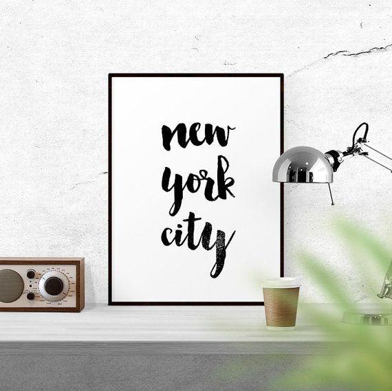New York City Printable, New York Art Print, Travel Print, Black and White, Home Decor, Pritable Art, Digital Download, Motivational Print