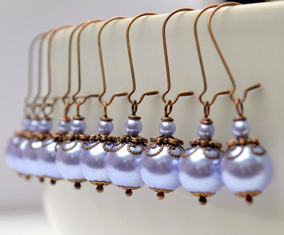 Powder blue bridesmaid earrings pearl drop by ArtemisBridalJewelry