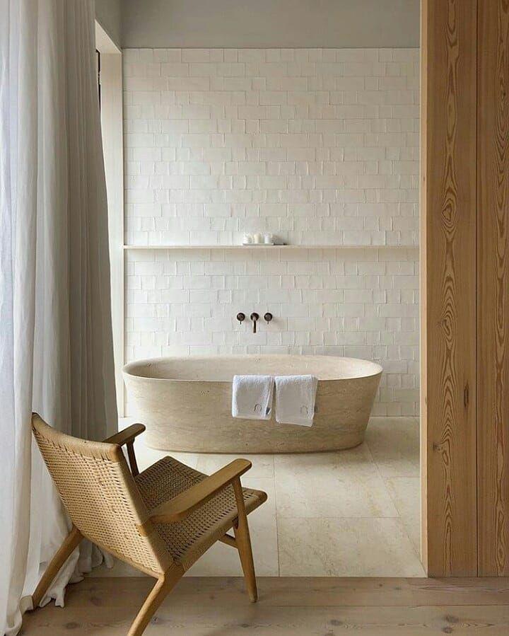 31 Chapel Lane On Instagram Natural Habitat Feat Limestone Bath Via Windowofimagination Bathroom Inspiration Bathroom Decor Japanese Interior