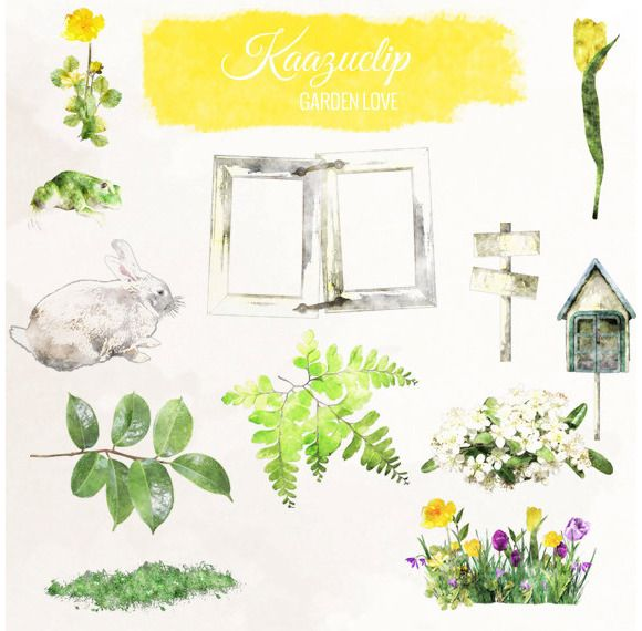 Check out Watercolor Garden Set by Kaazuclip on Creative Market