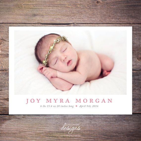 Birth Announcement, New Baby Announcement, Baby Girl Announcement, Baby Boy Announcement, Card, DIY, Printable, Custom – Joy by LarissaKayDesigns