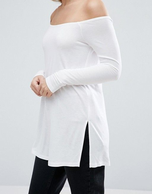 ASOS PETITE Off Shoulder Slouchy Top With Side Split