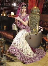 Hot pink and off white lengha desi bridal