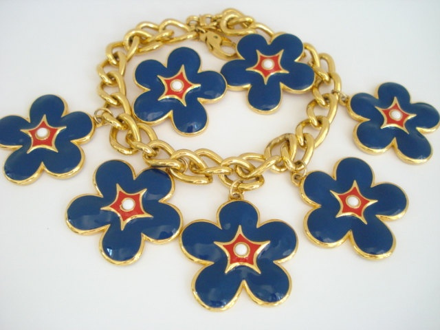 Escada Big Chunky Blue Red Enamel Flower Statement Necklace and Earrings. $ 395.00, via Etsy.