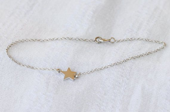 Silver tiny star bracelet Silver star 925 sterling by Wavejewels