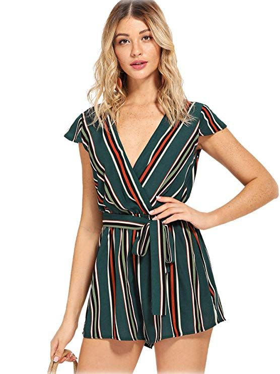 0458709452f Amazon.com  Romwe Women s Casual Vertical Striped Jumpsuit Romper with Belt   Clothing