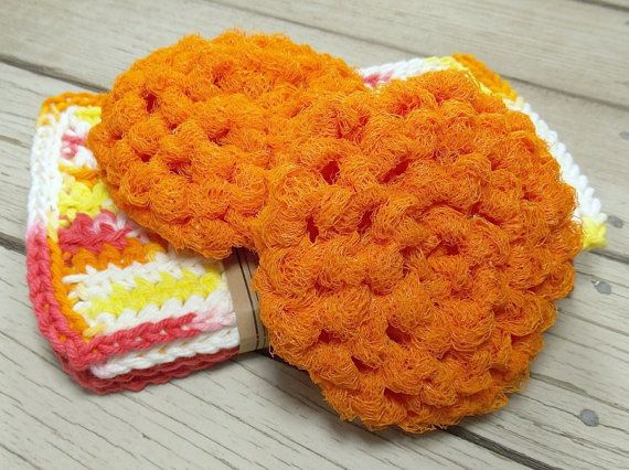 Eco Friendly Crochet Dish Scrubbers in Orange by TheLotusShop, $5.00
