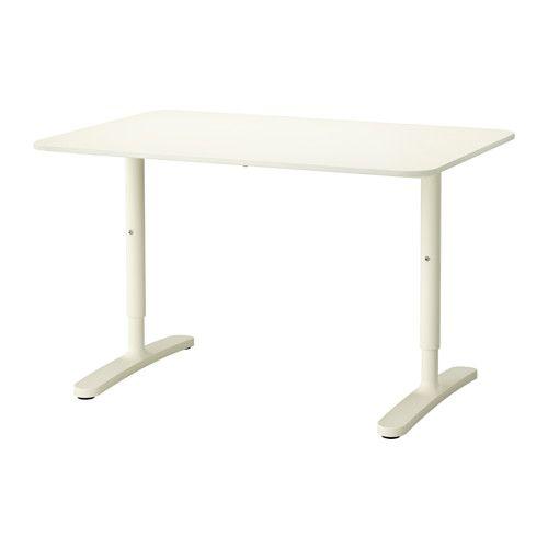 """BEKANT Desk - white - IKEA  Length: 47 1/4 """" Depth: 31 1/2 """" Min. height: 25 5/8 """" Max. height: 33 1/2 """"  $139"""