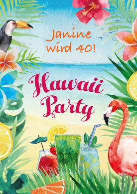 Fröhlich-bunte Einladung zur Motto-Hawaii-Party, Sommer-Party, Garten-Party...