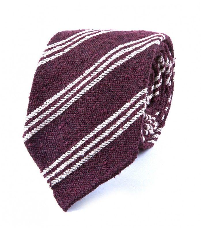 Wine Woven Shantung Triple Stripe Tie