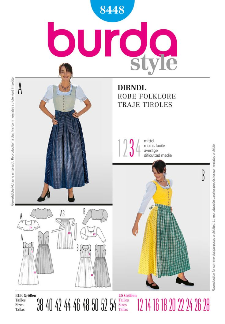 Simplicity Creative Group - Burda Style, Dirndl Dress Burda #8448