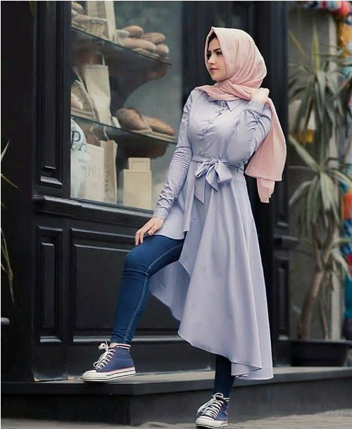 open dress with jeans-Hijab fashion ideas for Easter – Just Trendy Girls