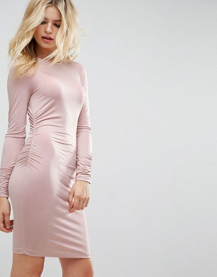 ASOS Ruched Side Slinky Long Sleeve Mini Dress - Pink