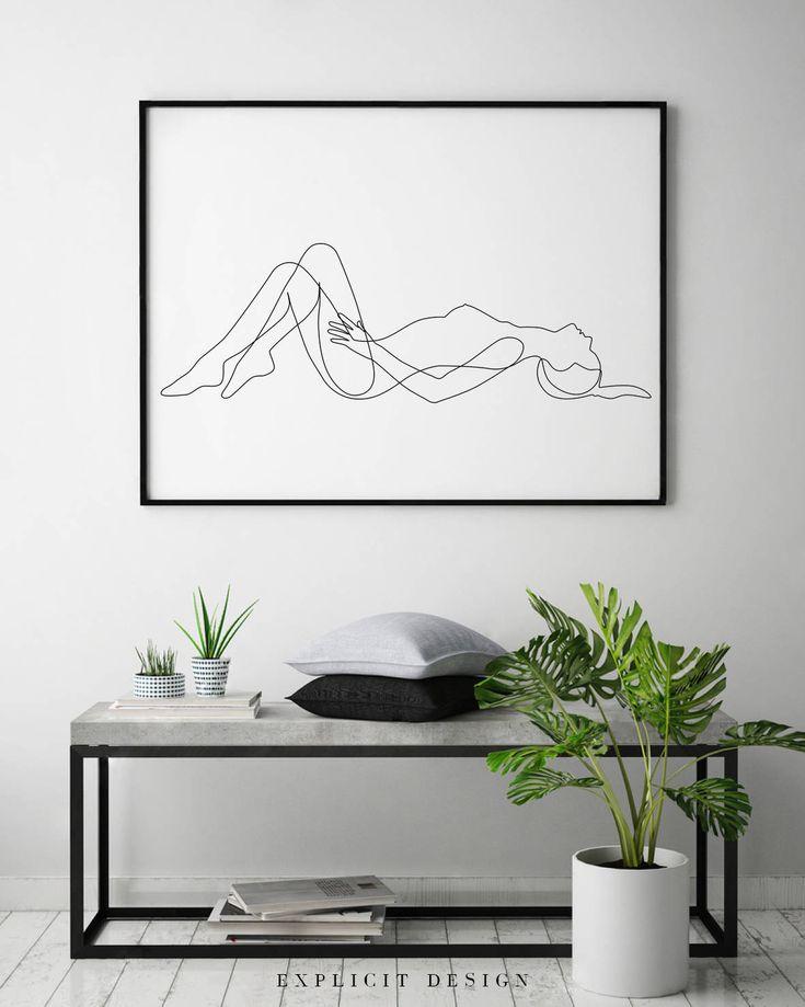 Nude Female Body Printable, Minimalist Naked Art, Simple Bedroom Erotic Prints, … – Limor Zinner