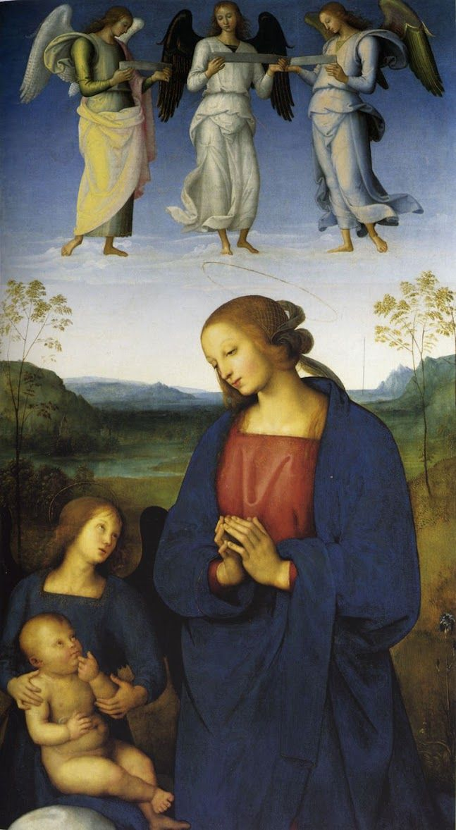 "Pietro Perugino, ""Polittico della Certosa di Pavia (Vergine col Bambino e angeli)"" (1500), with lapis lazuli used in its blues (via National Gallery/Wikimedia)"