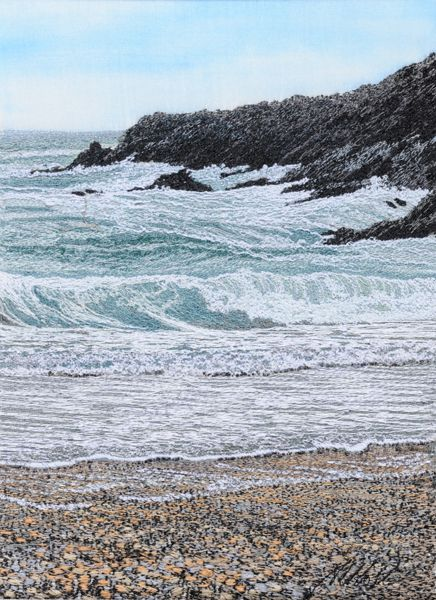 The Rolling Surf - Alison Holt - machine embroidery