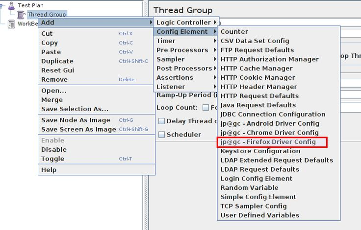 WebDriver plugins installed open Jmeter - Firefox Driver Config.