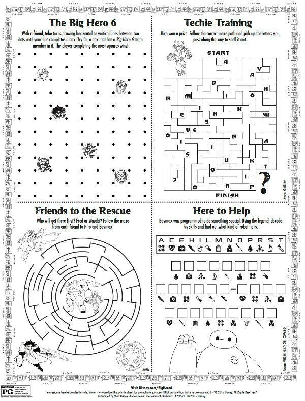 Disney Big Hero 6 Printable Puzzle Page Disney Activities