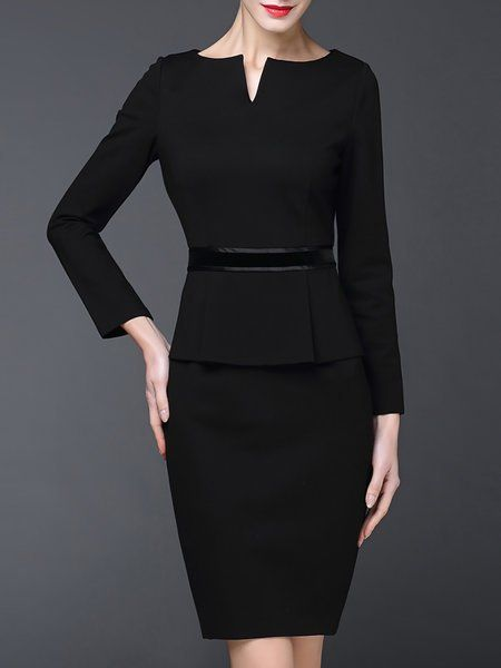 Black Sheath Work Cotton Statement Midi Dress Dress Dresses