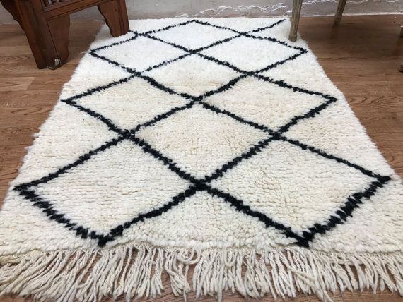 Authentic Moroccan Rug 3x4 Vintage Beni Ourain Rug All Wool Vintage Azilal  Moroccan Rug Kilim Teppich Tapis Beni Ourain Soft Rug Kelim