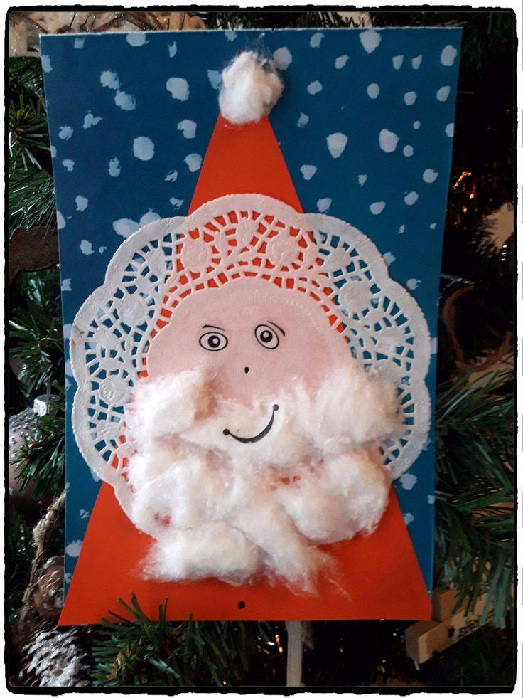 bricolage de noel, pere noel en dentelles, bricolage enfant, christmas craft