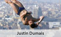 """Following the 2005 World Championships, Team Shaklee Athlete Justin Dumais retired from diving to fly F-16 jets in the U.S. Air Force. After six years and a tour of duty in Iraq, Justin has returned to diving. He says, """"I just missed the competitive nature of the sport so much that I elected to return to prepare for the 2012 Games in London. The journey has always had its difficult moments, but I just truly love the sport."""""""