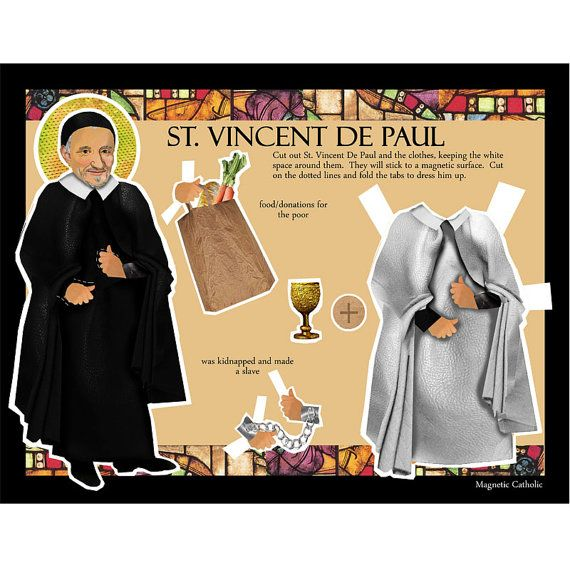 SALE St Vincent De Paul Apostle of Charity Catholic saint magnetic paper doll
