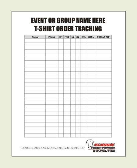blank t shirt order form template party ideas