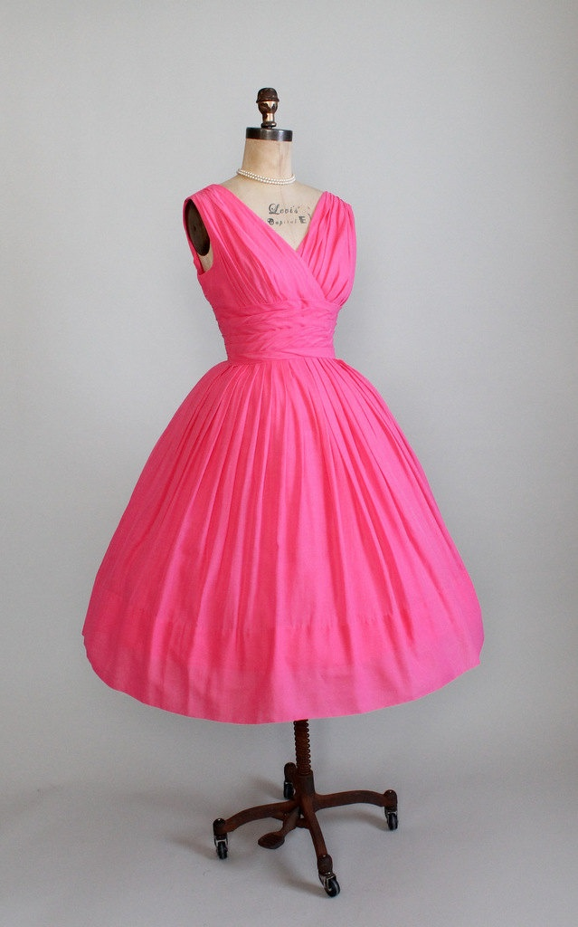 Vintage 1950s 60s Pink Party Dress.