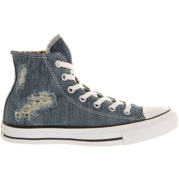 Converse All Star Hi ($28) ❤ liked on Polyvore featuring shoes, sneakers, torn denim leopard, converse trainers, leopard sneakers, leopard print high top sneakers, denim shoes and lace up high top sneakers
