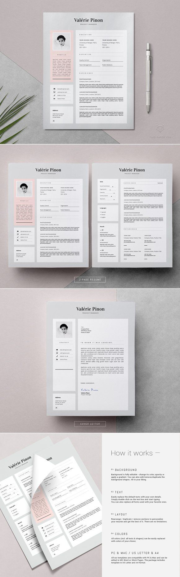 Resume Template 3 page / Valérie by This Paper Fox on @creativemarket