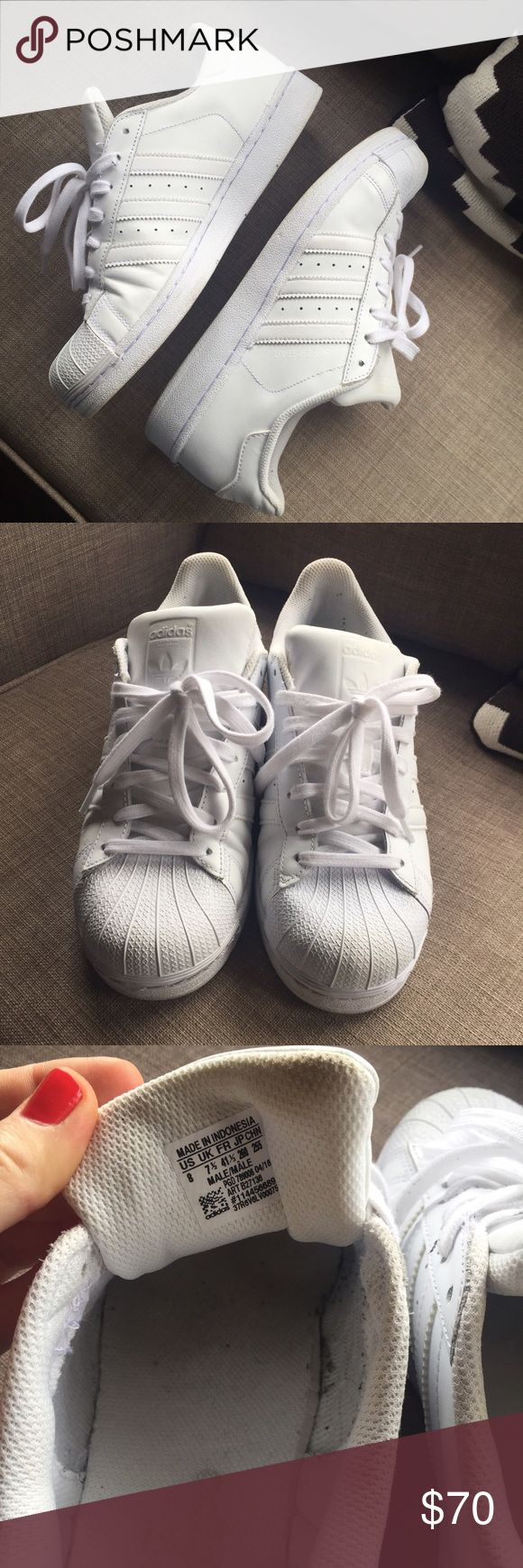 adidas superstar all white size 8M/10W almost new, bought 3 wks ago, worn 5-6 times Adidas Shoes Sneakers