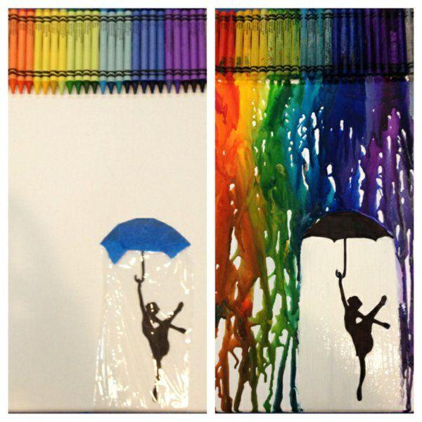 bunt Leinwandbilder selber gestalten diy glück regen