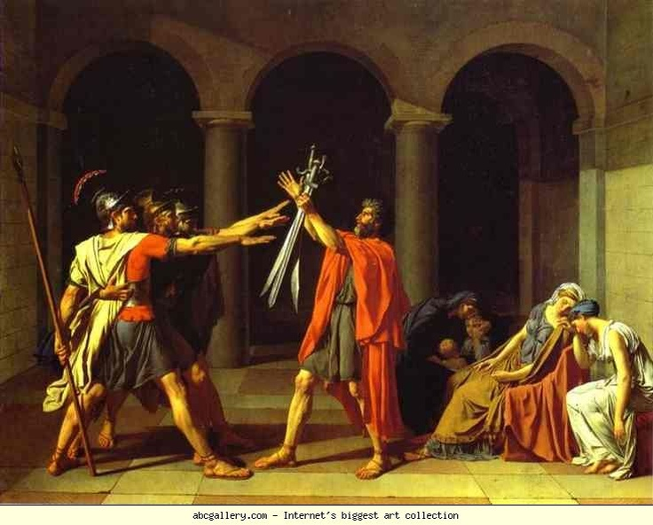 Jacques-Louis David. The Oath of Horatii. Olgas Gallery.