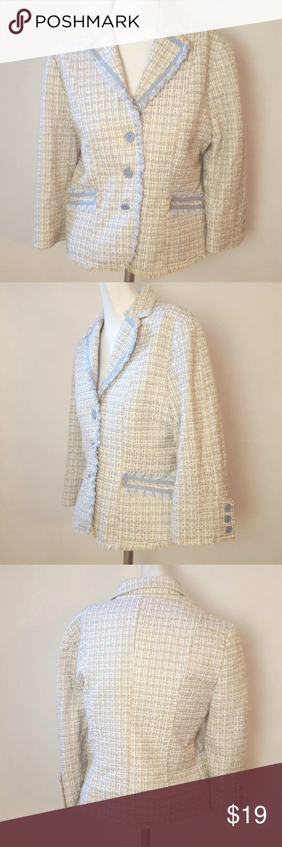 "MCM Tweed Blazer mCm Tweed Blazer. Three-button front closure. Two front pockets. Three-quarter length sleeves with three buttons. Colors: beige, pink, blue. Size Large. 100% acrylic. Measurements: 36"" bust, 23"" length, 18 1/2"" sleeve length. MCM Jackets & Coats Blazers"