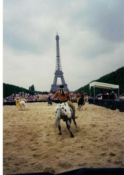 Canadian Indian rodeo Cowboys Association perform in Paris