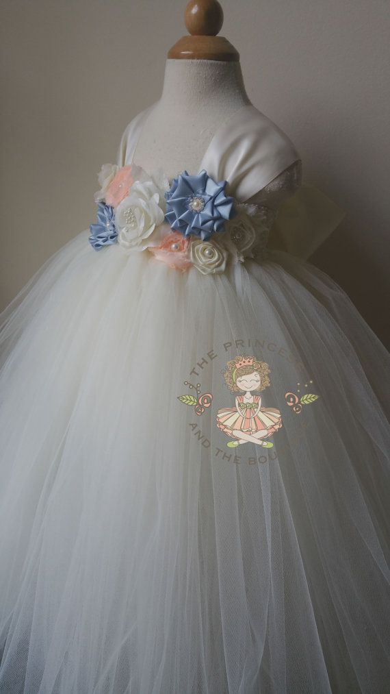 Ivory flower girl dress with a mixture of by Theprincessandthebou