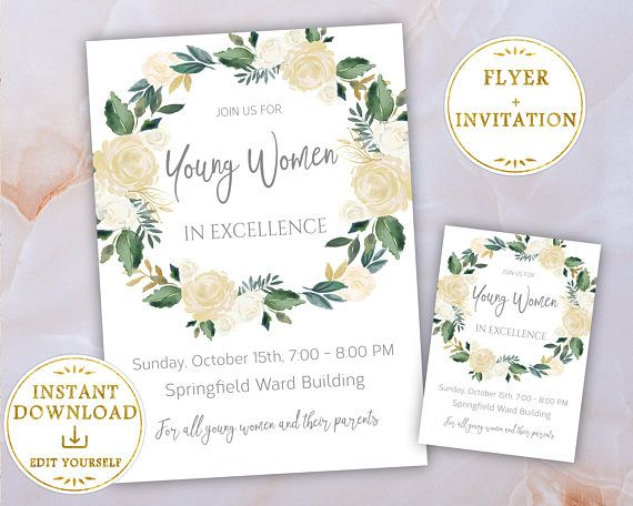 Editable Young Women in Excellence Invitations and Sign designed in White & Gold Watercolor Flowers. Simply edit the texts and Print it Today! Instant Download!   This listing is for a digital PDF which you will download through Etsy after your payment is processed and its included:   ♥ WHATS INCLUDED ♥  ↣ Editable PDF Flyer 8,5 x 11 ↣ Editable PDF Invitation 5 x 7 ↣ Editable Invitations 4.25 x 5.5 (4 per 8.5 x 11 sheet)   ♥ Do it Yourself and print it TODAY!  ♥ Areas highlighted in blue ...