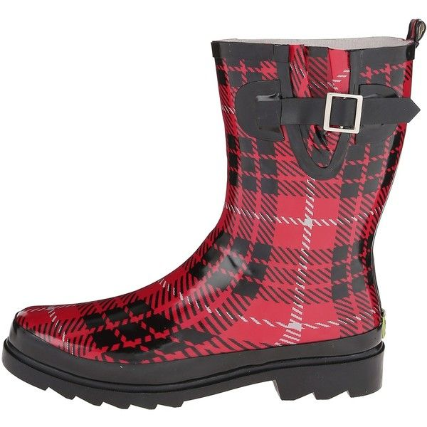 Western Chief Lumber Plaid Mid Boot (Red) Women's Rain Boots (€18) ❤ liked on Polyvore featuring shoes, boots, mid-calf boots, wellies boots, red boots, red wellington boots, wellington boots and plaid rubber boots