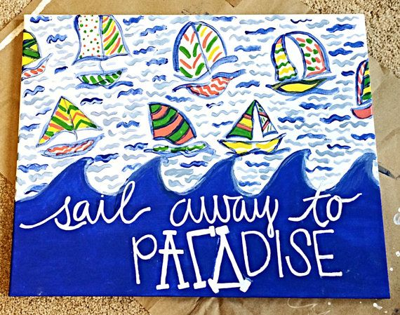 Lilly Pulitzer Sailboats Canvas  on Etsy, $25.00