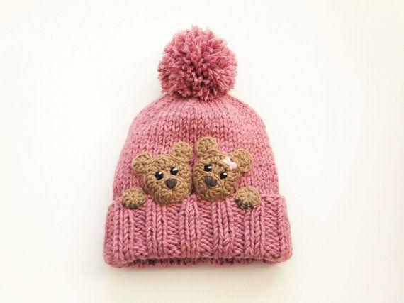 Bear hat Kids Winter Hat Beanie Hat Knit Hat Pom Pom Hat