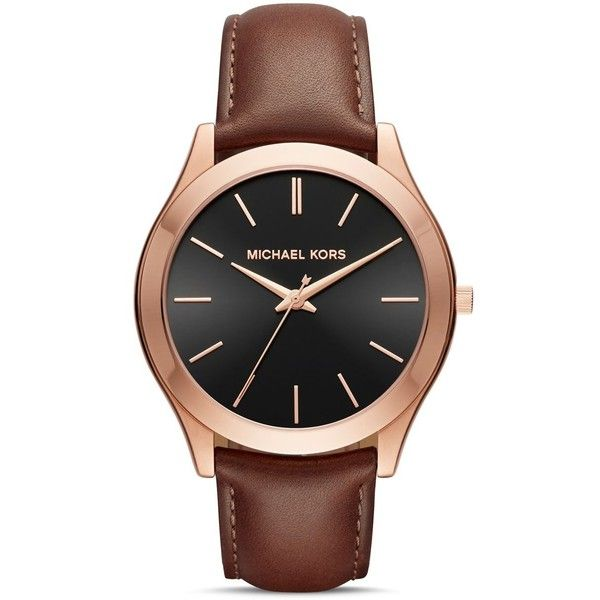 Michael Kors Slim Runway Watch, 44mm (£150) ❤ liked on Polyvore featuring men's fashion, men's jewelry, men's watches, black, slim mens watches and michael kors mens watches