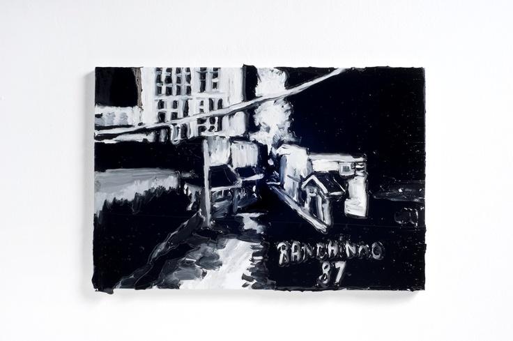 Rodrigo Andrade - 2012 |  Versão sobre obra de Ranchinho Noturno - 1987 |  Óleo sobre tela sobre mdf |  34 x 50 cm