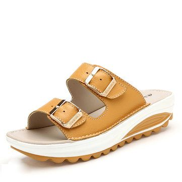 High-quality Candy Color Leather Buckle Metal Color Match Platform Beach Sandals Slippers - NewChic Mobile.